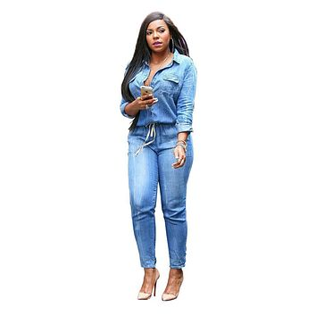 Echoine Denim Jumpsuit Women Turn Down Collar Elastic Waist Full Sleeve Long Skinny Rompers Casual Button Pocket Jeans Coverall
