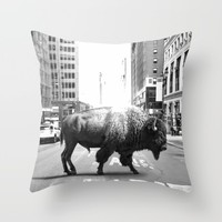 STREET WALKER Throw Pillow by Maioriz Home