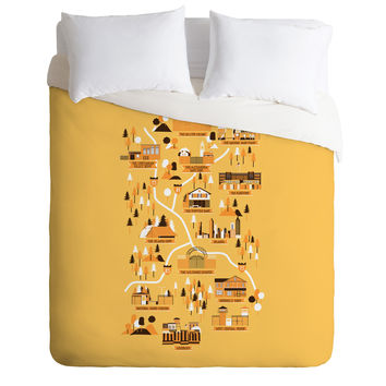 Robert Farkas The Walking Dead Map Duvet Cover