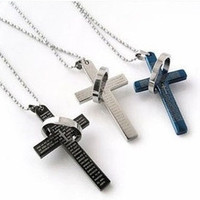 The bible cross ring ring necklace, titanium steel men's stainless steel necklace, cross necklace man lovers necklace = 1705962948
