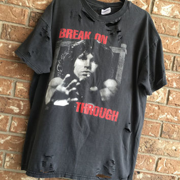 JIM MORRISON shirt distressed grunge, concert wear, rock shirt, ripped, torn, band shirt