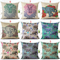 Bohemian Style Throw Pillow Cushion Cover Home Decor Vivid Elephant Printed Linen Square Pillowcase Home Decor Cojines Almohadas