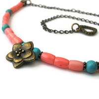 Coral and Turquoise Magnesite Gemstone Necklace, Summer Jewellery, Coral and Turquoise Magnesite