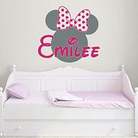 Minnie Mouse Name Wall Decal Bow Head Ears Vinyl Decals Sticker Custom Decals Personalized Baby Girl Name Decor Nursery Baby Room Decor x11