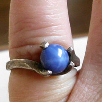 Vintage Star Sapphire Ring Modernist Hand Wrought Silver Size 5