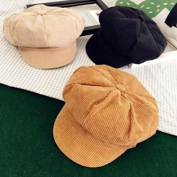 DCCKHG7 Korean Corduroy Women Hat Cute Spring Autumn Flat Painter Cap Vintage Casual Girls Beret Hat Black Camel Pink Beige
