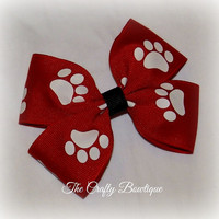 Animal Paw Print ~ Boutique Hair Bow ~ Red and White ~ Sports Team ~ Cheer Bow ~ Tigers ~ Big Hair Bow