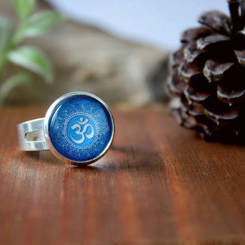 Blue Om Ring, Hindu Jewelry, Glass Cabochon, Om Jewelry