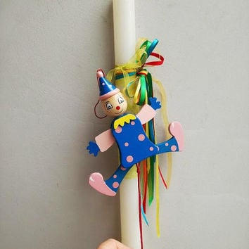 Clown puppet, Easter candle, white Easter candle with wooden clown puppet, movable parts, pink/blue clown, Greek lambada for kids and babies