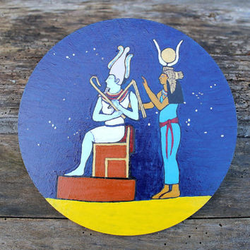 Isis and Osiris, Egyptian God and Goddess worship, egyptian altar kit, pagan altar plate, handpainted pentacle, ritual tools, egyptian art