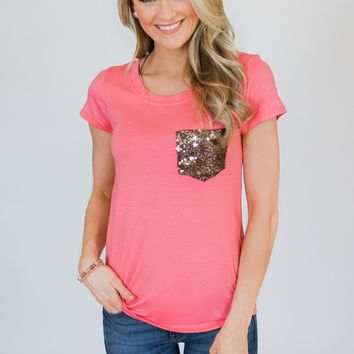 Glam Pocket Short Sleeve Top- Pink