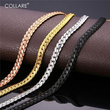 CREYCI7 Collare Trendy Men Snake Chain Black Gun/Rose Gold/Gold/Silver Color Necklace Men Link Chain Jewelry Party Gift N513
