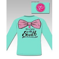 Sassy Frass Life is Better in the South Big Bow Long Sleeve Bright Girlie T Shirt