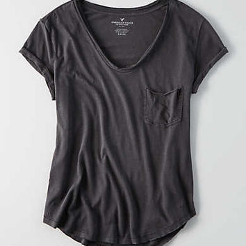 AEO Pocket Crew T-Shirt , Leaf Green