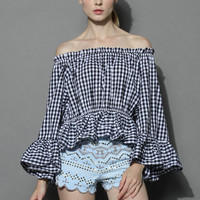 Chic Check Ruffled Off-shoulder Top Multi S/M