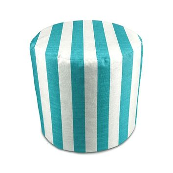 Stratford Home Indoor / Outdoor Ottoman Pouf, Classic Stripe Turquoise