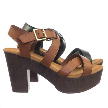 Ferry3 70 80 Retro Sculpted Lightweight Wooden Block Heel Platform Clog Sandal
