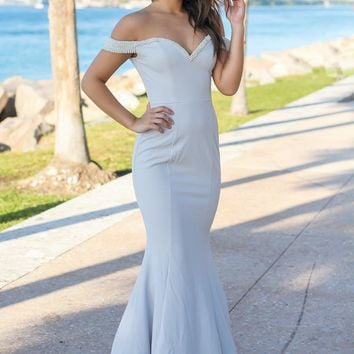 Light Gray Off Shoulder Maxi Dress with Pearl Detail