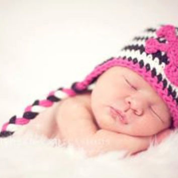 Skull and Crossbones Earflap Hat, Black, White, Hot Pink, Braids, Crochet