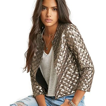 Blazer Women Vogue Lozenge Women Gold Sequins Jackets Three Quater Sleeve Coats Outwears