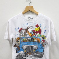 ON SALES 15% Vintage 90s Warner Bros Tweety Bugs Bunny Duffy Duck Tazmania Space Jam White T Shirt