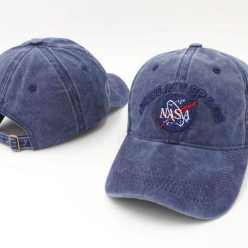 PEAPON9X Brand Embroidery Nasa I Need My Space Baseball Cap Hip Hop Women Men Adjustable Denim Khaki Dad Hat Bone Gorras Trucket Hat Friend Khaki [2974244219]