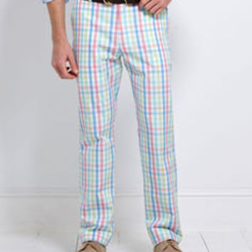 Men's Casual Pants: Breakers Pant: Marina Plaid Mens Pants - Vineyard Vines