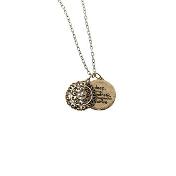 Elements Water Virtue Sterling Silver Bronze Double Disc Necklace