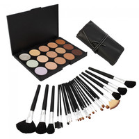 15 Color Camouflage Concealer Palette with 24pcs Makeup Brush Set - Default