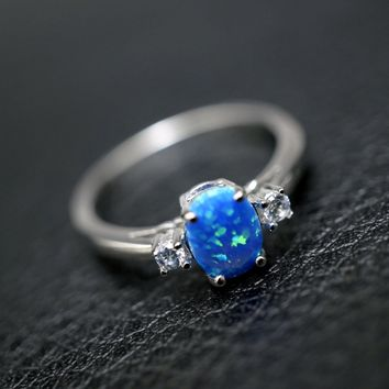 Blue Opal Ring - Full Sterling Silver Cz Ring, Blue Fire Opal Ring, Engagement Ring, Wedding Ring
