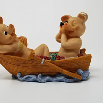 Vintage Pig Couple in Rowboat Figurine Sexy Pigs Hooligan Pigs