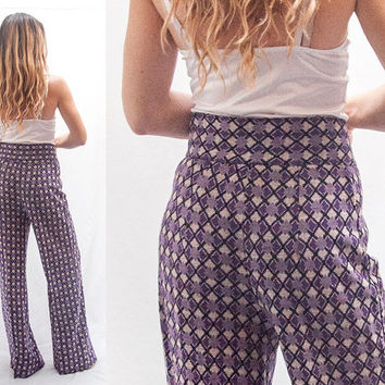 Funky Purple Bell Bottoms | Womens or Mens High Waisted Bell Bottom Pants Slacks Flare Pants Wide Leg | Vintage Disco Era 60s 70s Clothing
