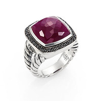 Indian Ruby, Black Diamond & Sterling Silver Ring