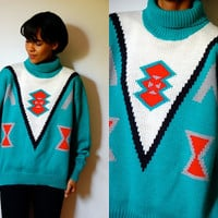 Vtg Tribal Knit Red Grey Black White Teal Turtleneck Sweater
