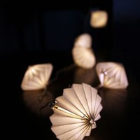 Paper Hand Folded Lantern - Disc Light Chain