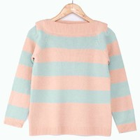 Stripe Print Knitted Jumper with Boating Neckline