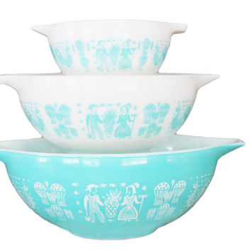 Vintage 1950s Butterprint Turquoise Cinderella Mixing Bowls Set (3 Pieces)  | #441, 443, 444 | 50s Bakeware, Housewarming Gift