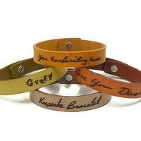 Handwriting Bracelet, Custom Handwriting Laser Engraved on our Handmade Leather Bracelet, Memorial Bracelet from a Loved Ones Signature