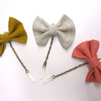 Linen Bow iPhone Headphone Plug/ Dust Plug - Cellphone Accessories - 3 Color Options