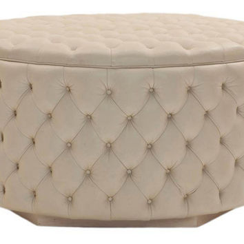 "George Smith, 50"" Soho Buttoned Drum Ottoman, White, Ottomans"