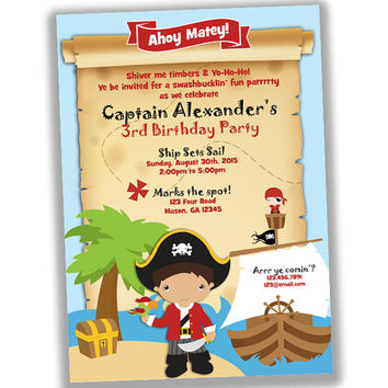 Pirate Birthday Invitation - Pirate Party Invitation - Captain Boy Birthday Party Invites - Ahoy Matey - Treasure Map Invitation - Boys