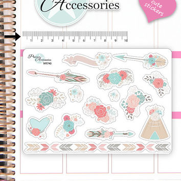 Flower Stickers Spring Stickers Boho Stickers Planner Stickers Erin Condren Functional Stickers Decorative Stickers NR740