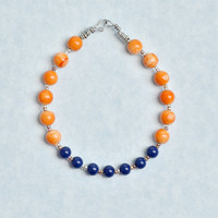 Blue and Orange Bead Bracelet with Acrylic and Metal Beads, Womens Jewelry, Teen Jewelry