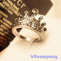 Korean Stylish Trendy Lovely Cute Elegant Crown Full Crystal Rhinestone Ring