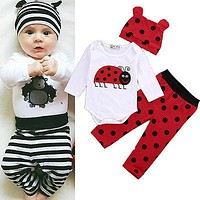 fall winter new infant toddler Newborn kids clothing Baby Boy Girl Rompers Top Striped Leggings Pants 3PCS Outfit Set Clothes