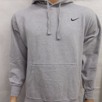 Nike Mens Gray Pullover Fleece Lined Hooded Hoodie Embroidered Sweatshirt Size Small