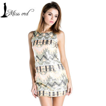 Free Shipping Missord 2015 Sexy geometry sequined sleeveless  dress FT3344