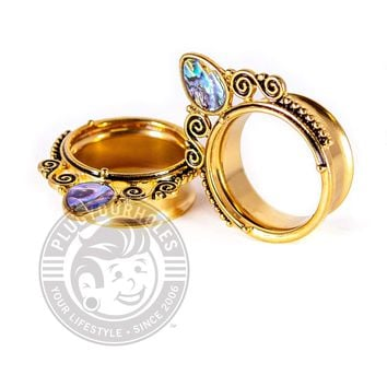 Gold Single Prong Abalone Double Flared Steel Tunnels