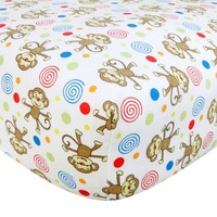 Trend Lab Monkey Print Flannel Crib Sheet (White)