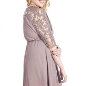 Hopeless Romantic Crochet Sleeve Blouson Dress in Mocha | Sincerely Sweet Boutique